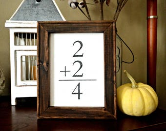 Family Sign, 2 + 2 = 4, Canvas and Stained Wood Frame, Rustic, Farmhouse, Gallery Style Wood Framed Sign, Flashcard, Family Math, Flash Card