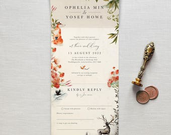 Once Upon A Time - All-in-one wedding invitation. No envelope needed -simply pop it in the post. Rustic autumnal woodland, fox, deer & raven