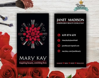 Mary Kay Cards Printable - Mary Kay Branding - Beauty Consultant Double Sided Calling Cards - Mary Kay Printable Business Cards PDF
