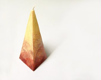 Pyramid Candle - Hygge Home Decor - Handpainted Candle in Brown Cream Colors - Hand Made Rustic Candle Pyramid - Rustic Table Decor