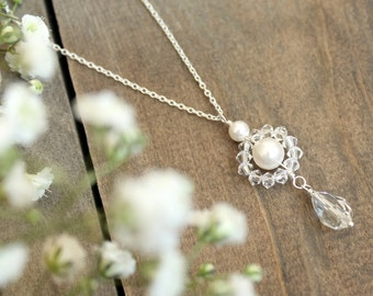 Bridal necklace, wedding necklace, pearl bridal jewelry, Swarovski crystal necklace for bride, sterling silver bridal jewelry,gift for bride