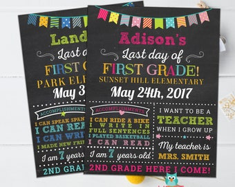 Last day of First Grade sign, School Graduation, Girls First Grade School Chalkboard poster, 1st Grade Graduation Sign ANY AGE