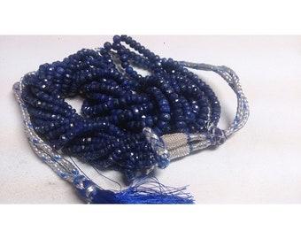 Natural Deyd blue sapphire corrundum 3mm- 5mm Faceted Rondelle Beads