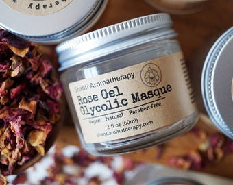 Rose Glycolic Gel Masque - Vegan - Alpha Hydroxy Acid Mask - All Natural for all Skin Types - Sensitive Skin
