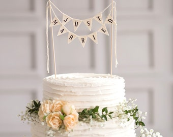 Just Married Wedding Cake Topper Banner, rustic wedding cake topper, wedding vintage cake toppers, rustic wedding decor, rustic cake topper