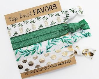 Tropical Pineapple Hair Tie Set, Hair Ties, Elastic Hair Ties, Elastic Wrist Bands, Elastic Bracelets