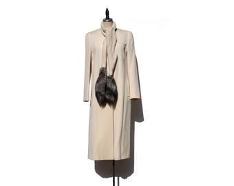Vintage Ivory Wool Coat w/Fox Tail Scarf