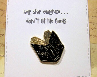 Book Enamel Pin with handmade Punny card & envelope - Lapel Pin - Hard Enamel Pin - Body Parts - Kawii - Trending - Backpack Pin