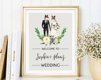 Woodland Fox Wedding Welcome Sign. Watercolor Floral Fox Couple. Rustic White Roses. Romantic Botanical Garden Bridal Party Printable WOOD13