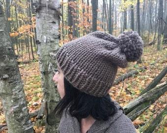 Pom Pom Winter Hat,Chunky Hat,Winter Accessory // TAUPE //The Harvest Pom