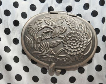 Vintage Photo & Mirror Oval Compact Pewter Embossed Butterfly Floral Pocket Accessory All Proceeds Benefit Kamp Kittyville Charity