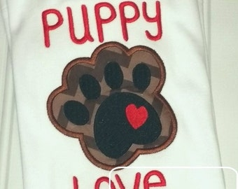 Puppy Love Paw Print Appliqué Embroidery Design - Valentines day appliqué design - Valentine appliqué design
