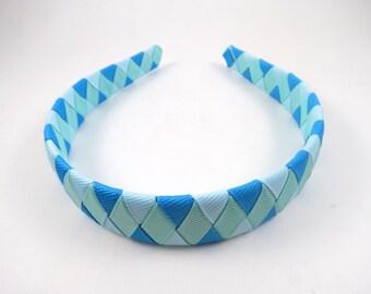 Blue Headband - Light Blue Headband - Aqua Headband - Turquoise Headband - Woven Braided Headband - Toddler Teen Adult Headband