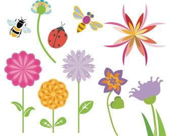 Flower Garden Clipart, Ladybug Clipart, Bee Clipart, Wasp Clipart, Flower Art, Floral Art, Bug Clipart, Digital Download