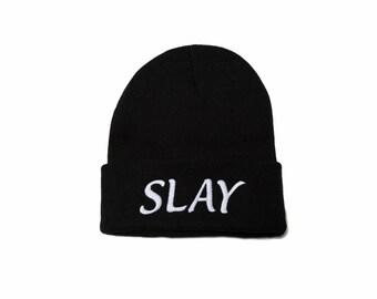 Slay Beanie, Slay Hat, Embroidered Beanie, Beanies with Words