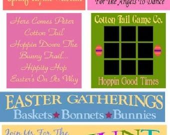 PRIMITIVE STENCIL - TW12 (12pc set) Easter Set - Clear 5Mil Mylar -Make Your Own Sign