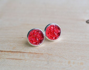 Ruby Druzy Earrings - Red Druzy Earrings - Burgundy Druzy Earrings - Post earrings - Pastel druzy earrings - Sparkle earrings  Post Druzy