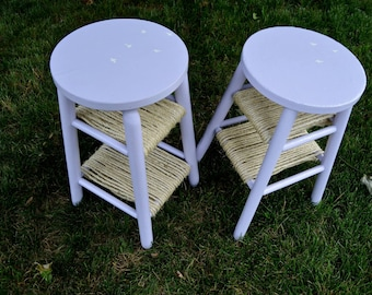 Lavender Bird Silhouette matching stools/end tables