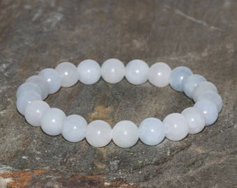 8mm Blue Calcite Bracelet, Natural Blue Gemstone Bracelet, Handmade Gemstone Jewelry, Gemstone Bracelet, Handmade Jewelry, Wrist Mala Beads