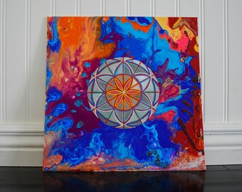 Vibrascope Original Acrylic Painting, Flower of life, Sacred Geometric Psychedelic Unique Abstract Colorful painting, Seed of life canvas