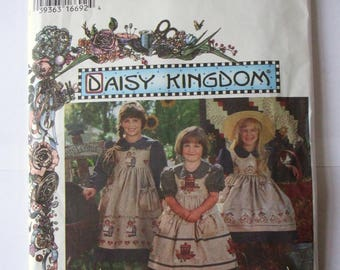 Simplicity 9458, Size 3-4-5-6, Child's Dress and Pinafore Pattern, UNCUT, Daisy Kingdom, Party Dress, 1995, Vintage, Calf Length