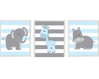 Nursery Art  Elephant Giraffe Hippo Safari Wall Art - Blue Gray Stripes  Print Set   - Baby Boy Children Kid Room Home Decor Wall Art