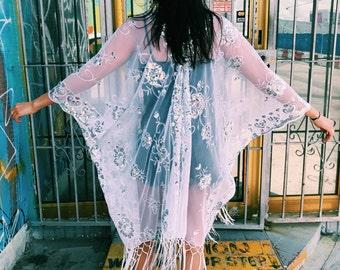 Kimono Cardigan Sequin Cover ups