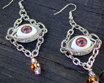 FREE SHIPPING on Everything ~ Evil Eye Earrings ~ Brown ~ Glass Beads Jewelry ~ Belfry Studios