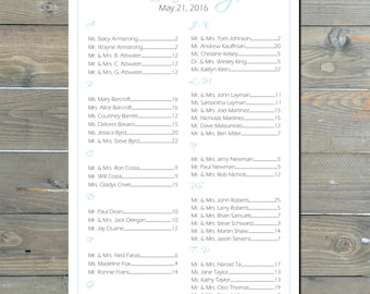 Surfboard Seating Chart, Digital, Beach, Table Assignment, Wedding Reception, Party- Choose sm, md, or lg for approx. 130-300 guests