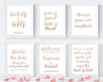 PERSONALISED set of 6 rose gold wedding signs, wedding sign bundle, welcome wedding sign, sign our guestbook, faux rose gold signs