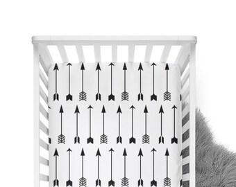 Fitted Crib Sheet Black Arrows on White - ModFox Exclusive- Black Crib Sheet- Arrow Crib Sheet- Arrow Baby Bedding- Crib Bedding- Monochrome