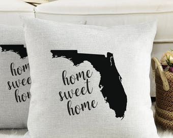 Florida Home Sweet Home - Pillow Cover - Lined Linen/Soft Gray