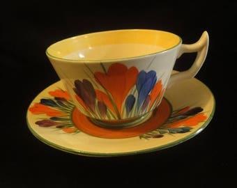 Clarice Cliff Cup & Saucer in Crocus pattern   circa 1930