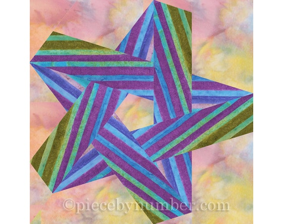 Pentagram Star Quilt Block Pattern Paper Pieced Quilt