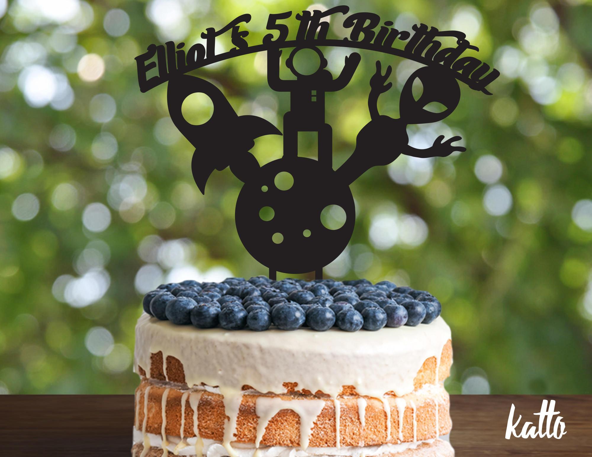 Rocket Birthday Cake Topper Customizable Alien Cake Topper Space