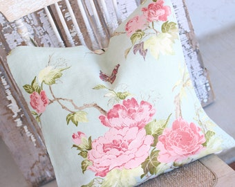 Cottage Chic Spring Garden Floral English Pink Cabbage Roses on a Robins Egg Blue Green Decorative Throw Pillow Cushion