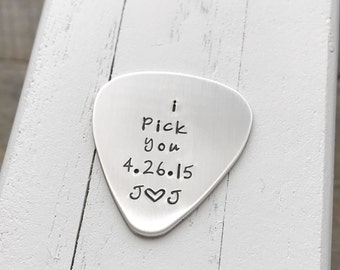 Guitar Pick hand stamped guitar pick  boyfriend gift 22 guage gift for him or her I pick you