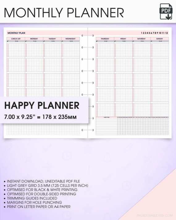 Monthly Happy Planner Printable Inserts Undated Mo2p Monthly