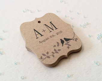 Personalized Wedding Favor Tags, Couples Initials Wedding Tags, Rustic Garden Favor Tags, Wedding tags on Kraft, Set of 25 (TW11k)