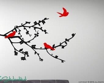 Flowering Branch with Birds Vinyl Wall Stickers Decals Graphics 886