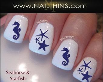 Nail Decals Seahorse and Starfish nail art designs by NAILTHINS