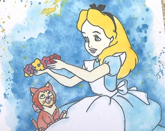 Disney's Alice and Dinah from Alice in Wonderland Watercolour Painting Print in A5 & A4.