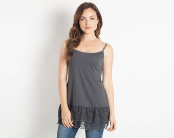 Grey Lace Camisole Shirt Extender
