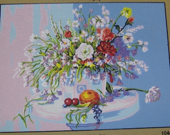 Flowers and Fruit Tapestry Needlepoint Canvas