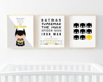 Batman Print Set, Batman Wall Art, Superhero Wall Art, Boys Room Decor, Superhero Art, Batman Printable, Boys Nursery, Instant Download