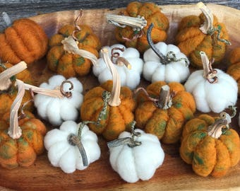 Needle Felted Wool Pumpkins With Real Pumpkin Stems- Your Choice Of Colors
