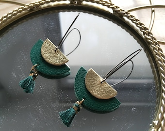 Earrings half moon green and gold leather with green tassel