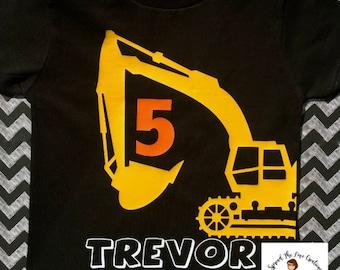 construction birthday shirt - construction birthday party - construction shirt - excavator birthday - birthday boy - personalized shirt