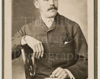 CDV Carte de Visite Photo Victorian Handsome Young Mustached Man, Smart Suit Portrait - Protheroe of Bristol England - Antique Photograph