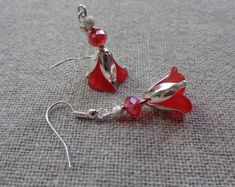 Red flower earrings silver red bo bo flower holder